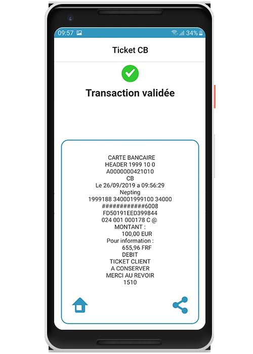 Commerce en mobilité - Emission du recu par email et SMS